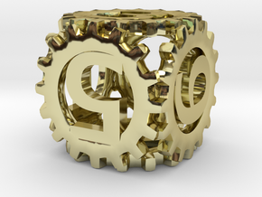 Static Gear Die (D6) in 18K Gold Plated