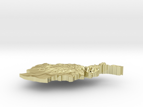 Afghanistan Terrain Silver Pendant in 18K Gold Plated