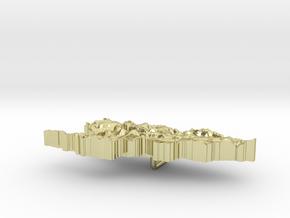 Kyrgyzstan Terrain Silver Pendant in 18K Gold Plated