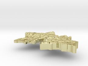 Tajikistan Terrain Silver Pendant in 18K Gold Plated