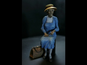 7/8ths Scale Old Lady sitting on Park Bench in Smooth Fine Detail Plastic