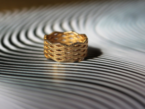 Urban Grid Ring in Matte Gold Steel