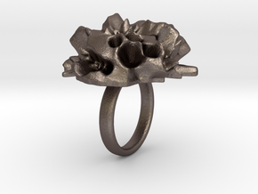 EUNICE Fractal Ring in Polished Bronzed Silver Steel
