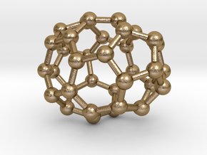 0029 Fullerene c36-01 c2 in Polished Gold Steel