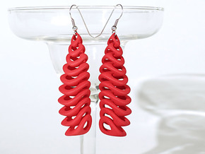 Tetron-earrings in Red Strong & Flexible Polished: Large