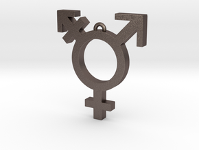 Transgender Pendant in Polished Bronzed Silver Steel