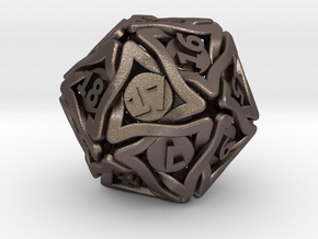 'Twined' Dice D20 MTG Spindown Life Counter Die 32 in Polished Bronzed Silver Steel