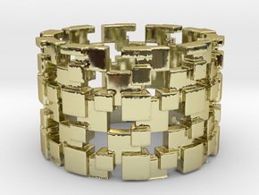 Borg Cube Ring Size 8 in 18K Gold Plated