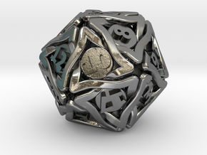 'Twined' Dice D20 Gaming Die (24 mm) in Polished Silver
