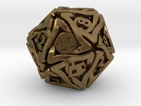 'Twined' Dice D20 Gaming Die (32 mm) in Natural Bronze