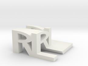RL Monogram Cube in White Natural Versatile Plastic