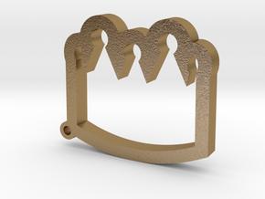 Crown Emoji Keychain/Pendant in Polished Gold Steel