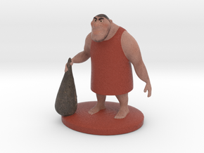 Caveman Cartoon Character in Full Color Sandstone