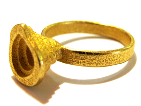 Gold Mine ring - UK Q (inside diameter 18.34mm) in Polished Gold Steel