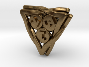'Twined' Dice D4 Gaming Die in Natural Bronze