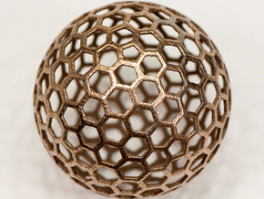 honeycomb sphere - 60 mm in Polished Bronzed Silver Steel