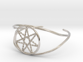 Woven Fairy Star armband/cuff in Rhodium Plated Brass