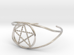 Woven Pentacle cuff/armband in Rhodium Plated Brass