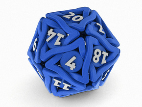 'Twined' Dice D20 Gaming Die (32 mm) in Blue Strong & Flexible Polished
