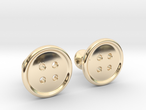 Button Cufflinks in 14k Gold Plated Brass