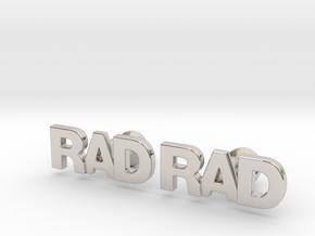 Monogram Cufflinks RAD in Rhodium Plated Brass