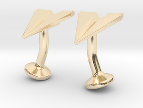 Paper Airplane Cufflinks in 14k Gold Plated Brass