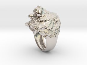 Lion Ring in Rhodium Plated Brass: 11.5 / 65.25