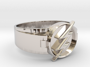 Flash Ring Size 9.5 19.41mm  in Rhodium Plated Brass