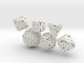 'Twined' Dice Gaming Die Set (6 dice) in White Natural Versatile Plastic
