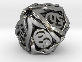 'Twined' Dice 10D10 (Decader) Gaming Die in Polished Silver