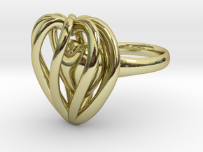 Heart Cage Ring in 18K Gold Plated