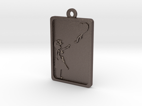 Banksy Girl With Balloon Pendant in Polished Bronzed Silver Steel