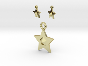 Star Pendant And Earrings in 18K Gold Plated