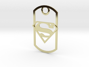 Superman dog tag in 18K Gold Plated