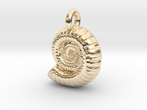Ammonite Earing/Pendant  in 14k Gold Plated Brass