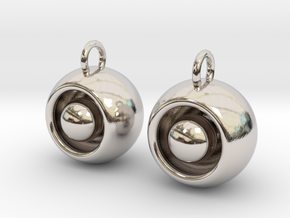 Floating Iris Earrings in Rhodium Plated