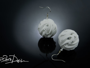 Globe Wave Earrings / Fireball Handmade Earrings in White Natural Versatile Plastic