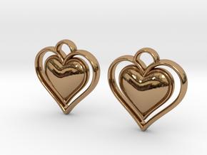 Framed Heart Earrings in Polished Brass