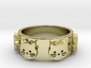 Ring of Seven Cats Ring Size 7 in 18K Gold Plated