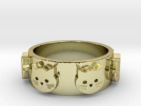 Ring of Seven Cats Ring Size 8 in 18K Gold Plated