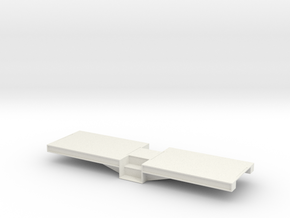 1:32 Narrow Gauge, Centre Entrance, Coach Chassis in White Natural Versatile Plastic
