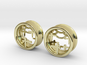 Shikigami Tunnels 1 inch gauge in 18K Gold Plated