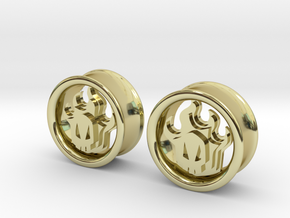 1 Inch Flame Skull Plugs in 18K Gold Plated