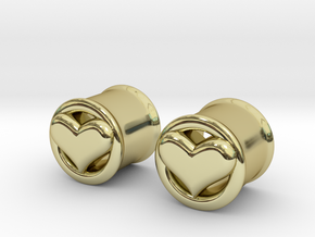 Heart 12mm (1/2 inch) plugs/tunnels in 18K Gold Plated