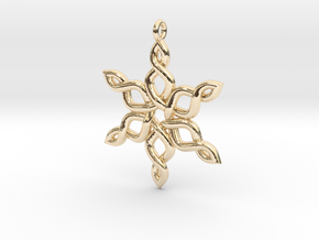 Snowflake Pendant 30mm in 14k Gold Plated Brass: Medium