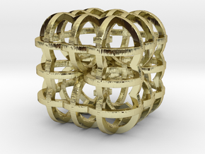 Fractal Cube RB4 30mm in 18K Gold Plated