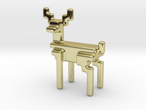 8bit reindeer with rounded corners in 18K Gold Plated