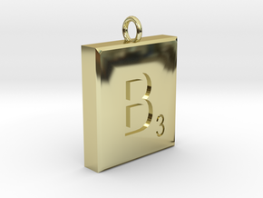 Scrabble Charm or Pendant B blank back Pendant in 18K Gold Plated