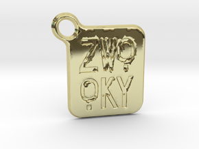 ZWOOKY Keyring LOGO 14 3cm 2mm rounded in 18K Gold Plated