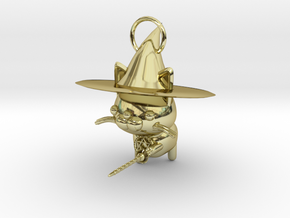 Magician of black cat in 18K Gold Plated